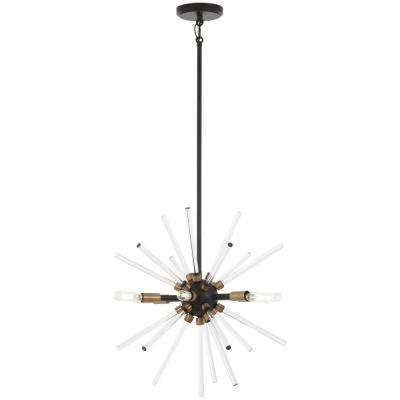 Spiked 6-Light Painted Bronze with Natural Brushed Brass Pendant