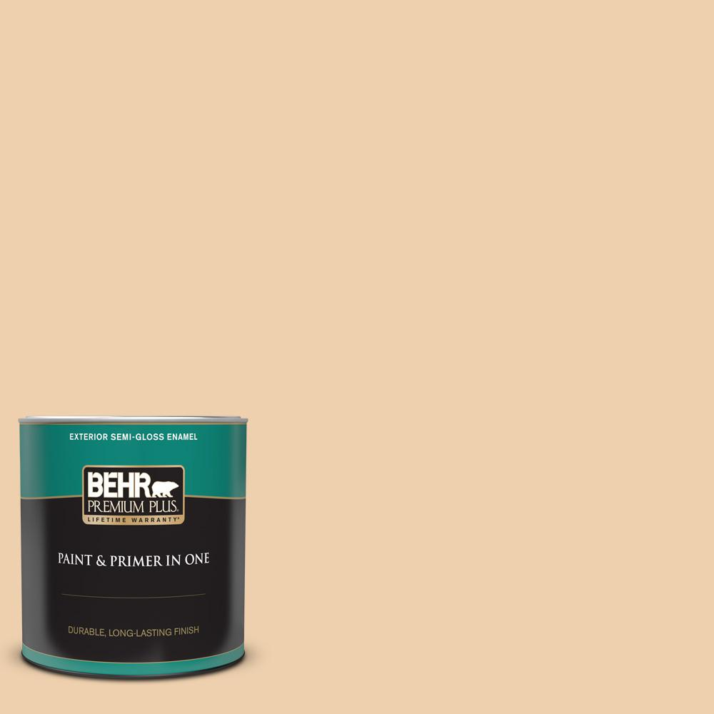 Behr Premium Plus 1 Qt Mq3 43 Ceramic Beige Semi Gloss Enamel Exterior Paint And Primer In One 540004 The Home Depot