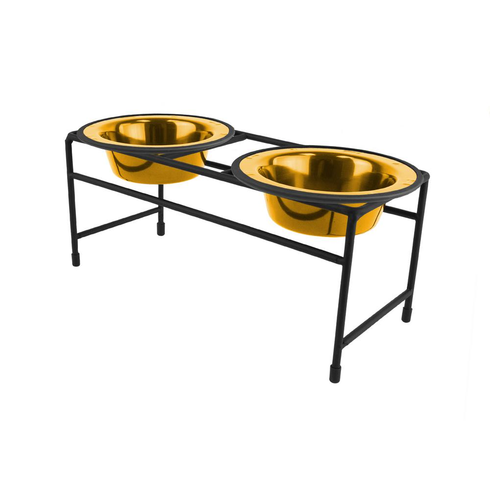 1.25 Cup Modern Double Diner Feeder with Dog/Cat Bowls, 24K Gold