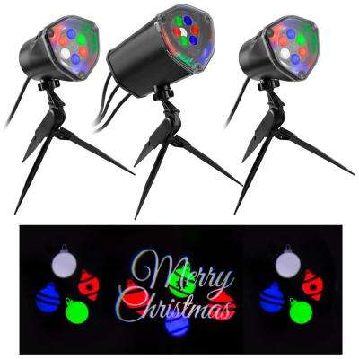 Multi-Color Whirl-A-Motion Static Merry Christmas LightSync with Sound Projection Stake