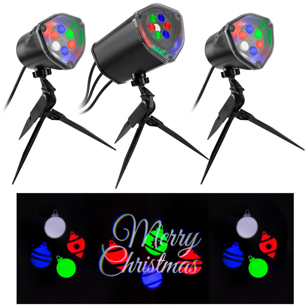 LightShow Multi-Color Whirl-A-Motion Static Merry Christmas ...
