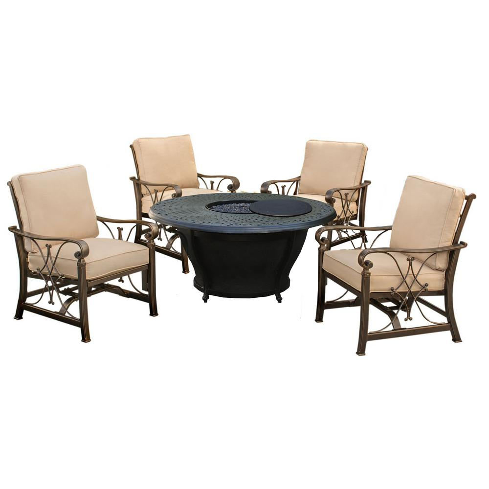 Caledonia 6-Piece Aluminum Patio Fire Pit Conversation Set with Oatmeal Cushions