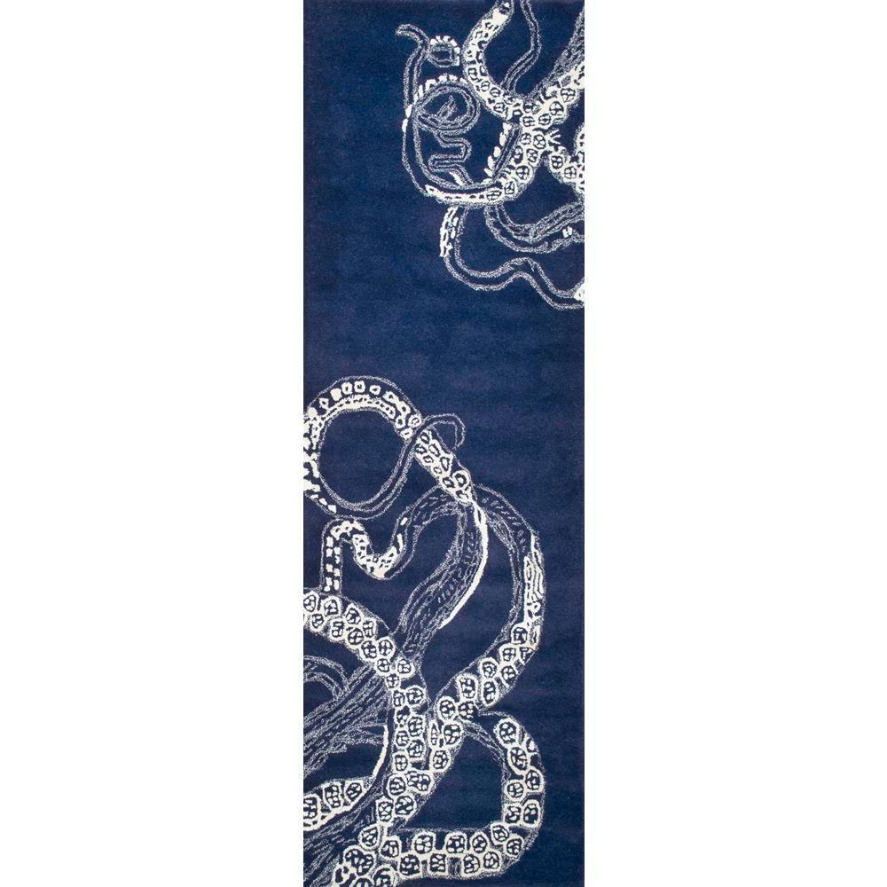 Octopus Tail Navy 3 ft. x 8 ft. Runner Rug