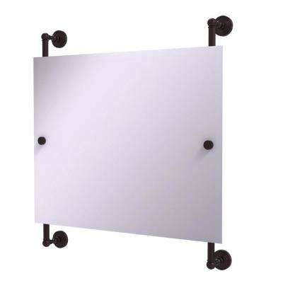 Waverly Place Landscape 26 in. x 29 in. Rectangular Frameless Rail Mounted Mirror in Antique Bronze
