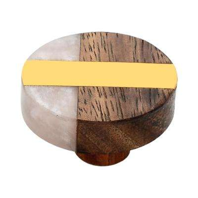 Fusion 1-1/2 in. Brass Bar and Marble Effect Cabinet Knob