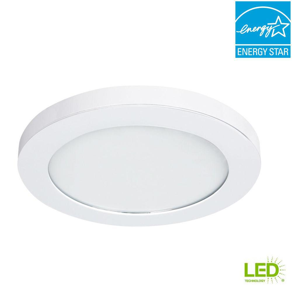 Commercial Electric 11 In White Led Edge Lit Flat Round Panel Flushmount Leviton 280 Home Wiring Diagram