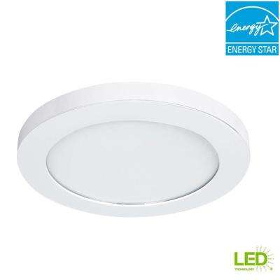 11 in. White LED Edge-Lit Flat Round Panel Flush Mount Light