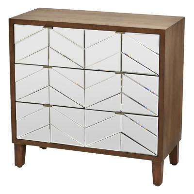 32.5 in. 3-Drawers Brown Wood Cabinet
