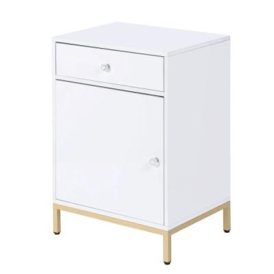White and Gold Metal Base with Drawer and Door Storage Wooden Cabinet
