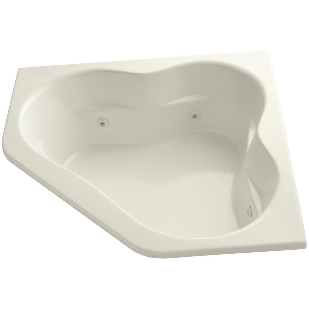 Tercet 5 ft. Acrylic Oval Drop-in Whirlpool in Biscuit