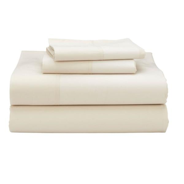 The Company Cotton 4 Piece Ivory 300 Thread Count Percale King Sheet Set