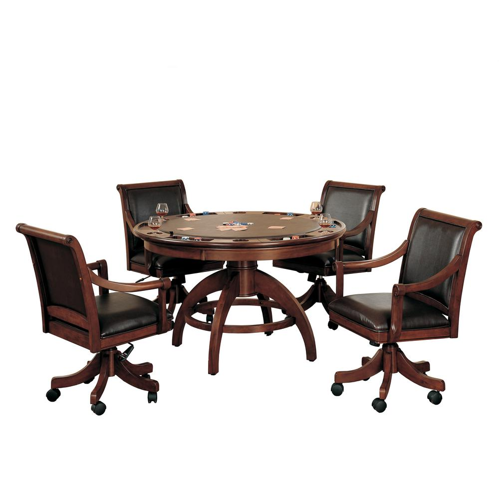 Hillsdale Furniture Palm Springs Cherry 5-Piece Gaming Table and Chairs  sc 1 st  Home Depot : gaming tables and chairs - Cheerinfomania.Com