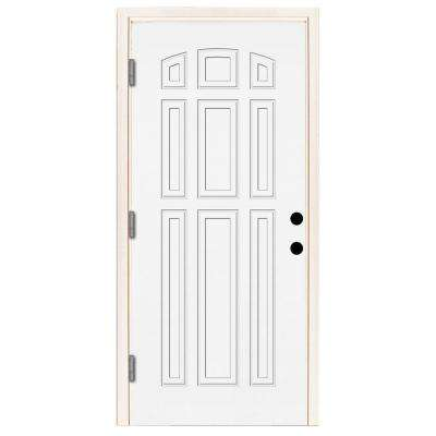 Premium 9-Panel Primed White Steel Prehung Front Door