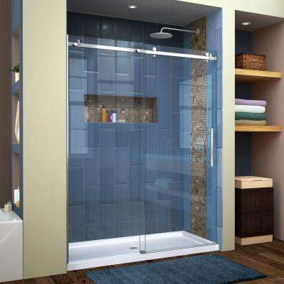 enigma air 56 in to 60 in x 76 in frameless sliding shower door in brushed stainless steel