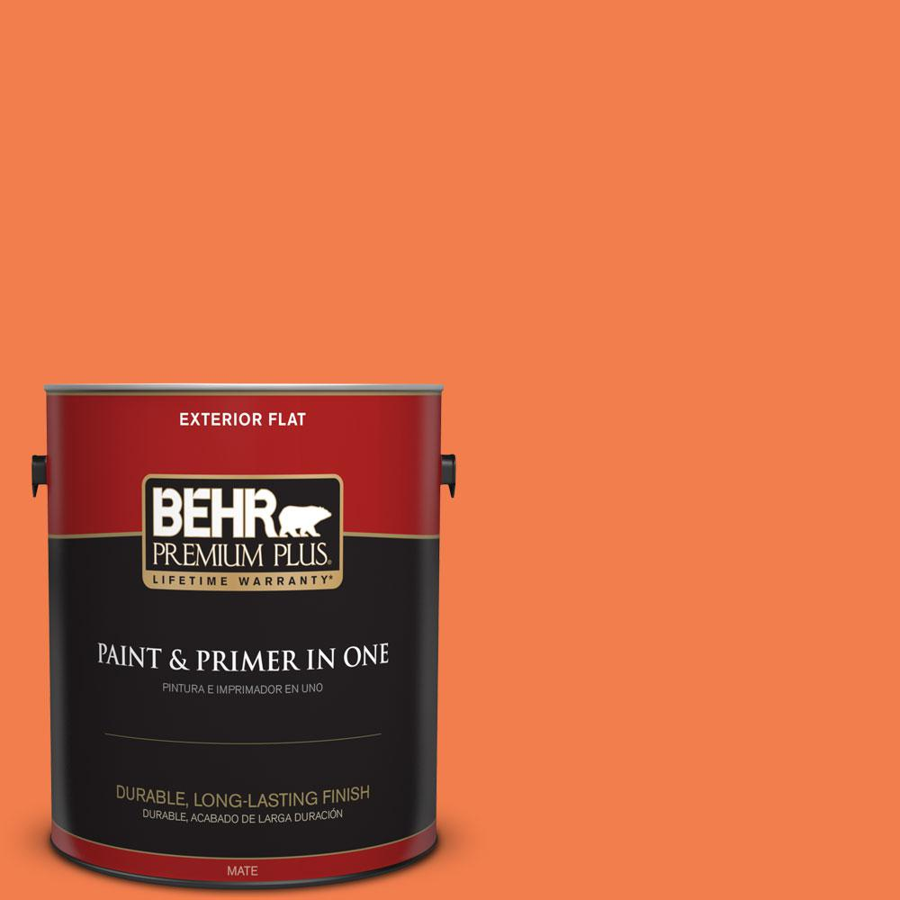 BEHR Premium Plus 1-gal. #220B-6 Harvest Pumpkin Flat Exterior Paint
