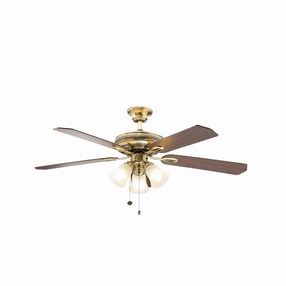 Hampton Bay Glendale 52 in. Indoor Flemish Brass Ceiling Fan with Light Kit
