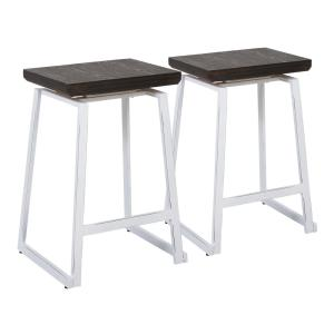 Geo 24 in. Vintage White and Espresso Counter Stool (Set of 2)