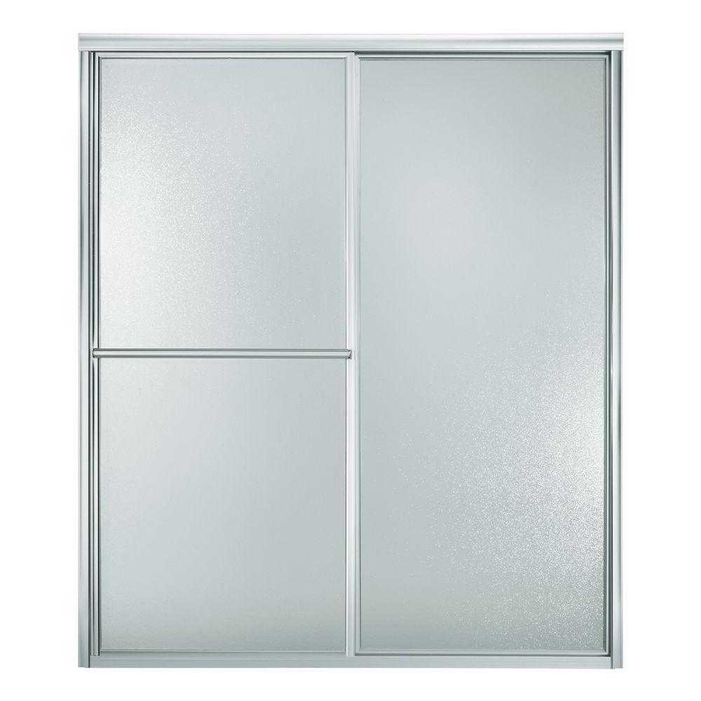 Deluxe 56 in. x 70 in. Framed Sliding Shower Door in Silver with Handle