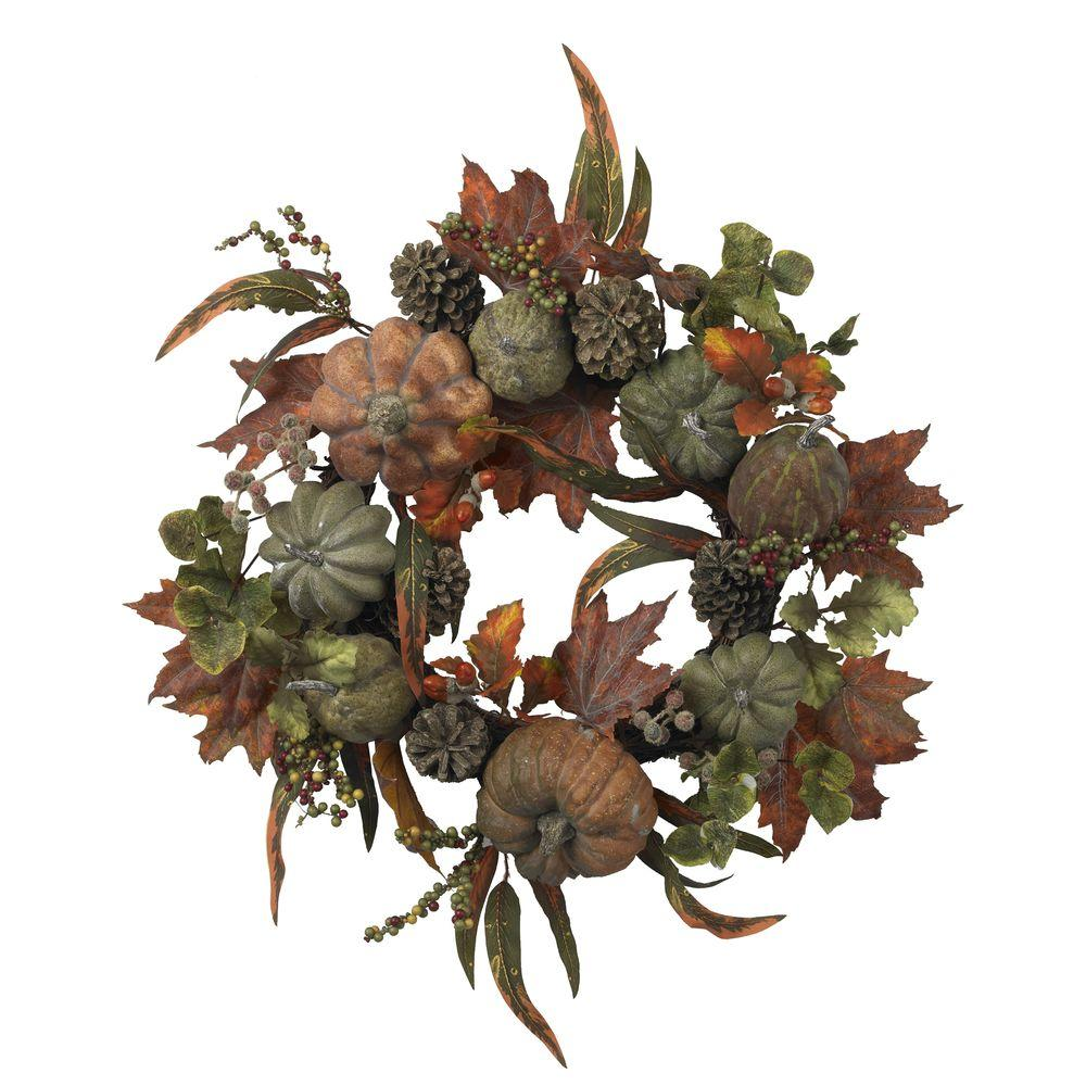 Nearly Natural 24 in. Artificial Wreath with Pumpkins, Gourds, and Pinecones