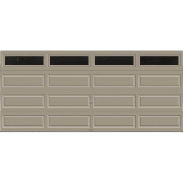 Classic Collection 16 ft. x 7 ft. 12.9 R-Value Intellicore Insulated Sandtone Garage Door with Windows Exceptional