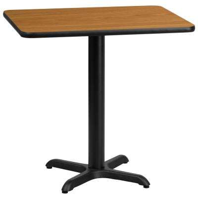 24 in. x 30 in. Rectangular Black and Natural Laminate Table Top with 22 in. x 22 in. Table Height Base