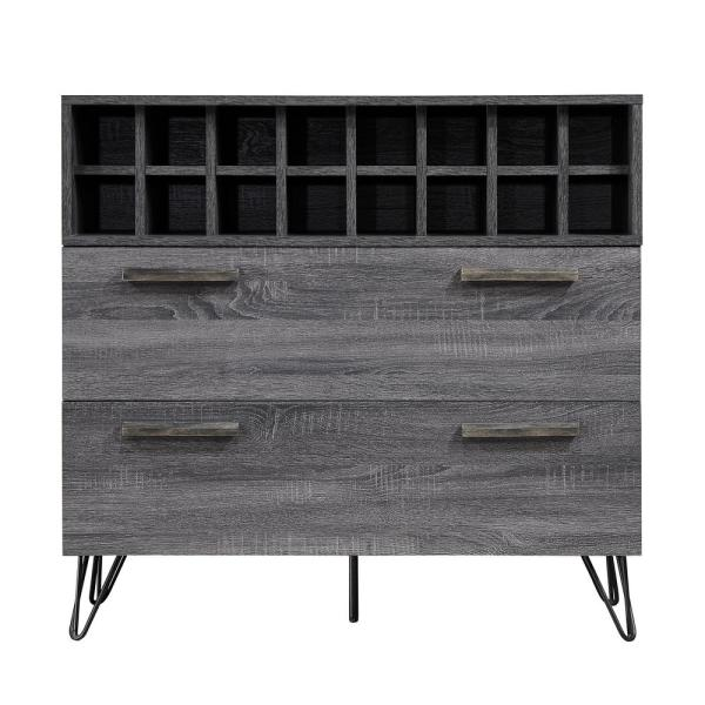Amelia Sonoma Grey Oak Bar and Wine Cabinet