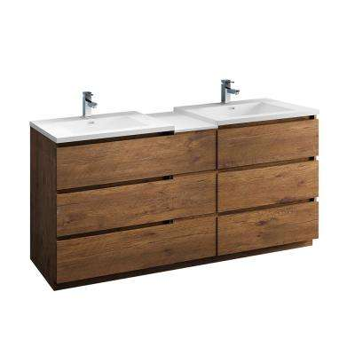 Lazzaro 72 in. Modern Double Bathroom Vanity in Rosewood with Vanity Top in White with White Basins