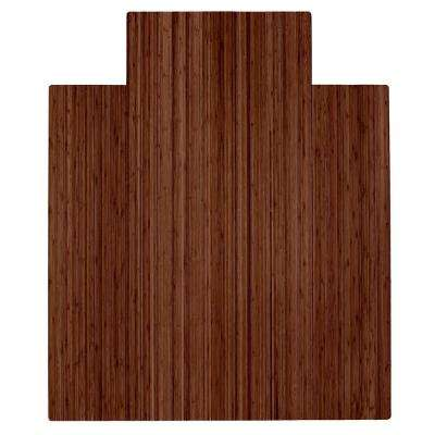 Walnut 44 in. x 52 in. Bamboo Roll-Up Chair Mat with Lip