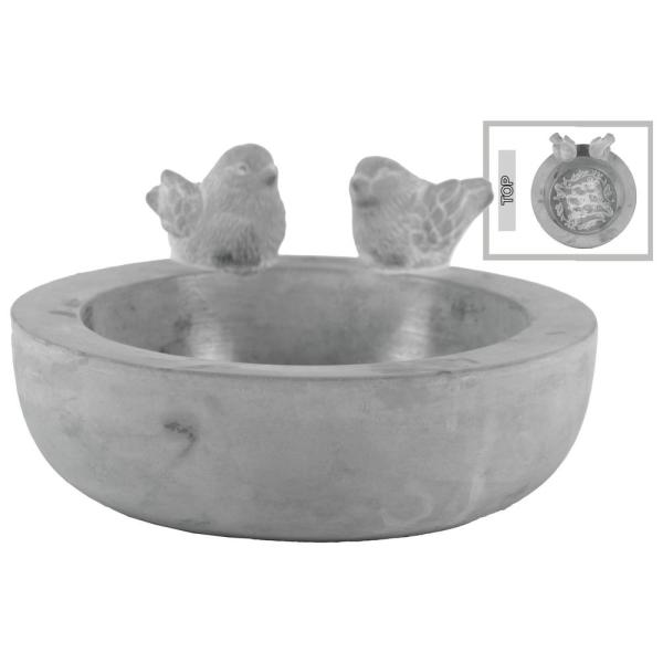 White Urban Trends Cement Bird Figurine with Washed Concrete Finish