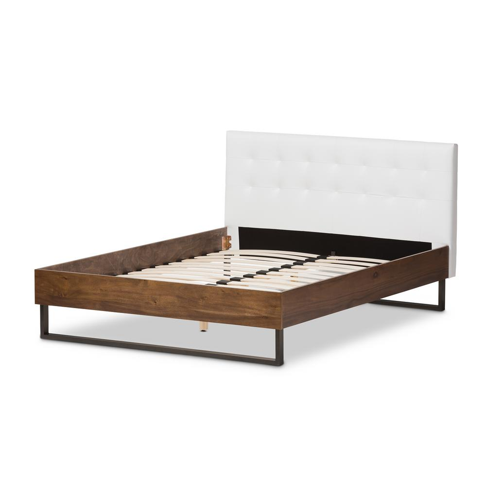 Mitchell White Faux Leather Upholstered Full Platform Bed