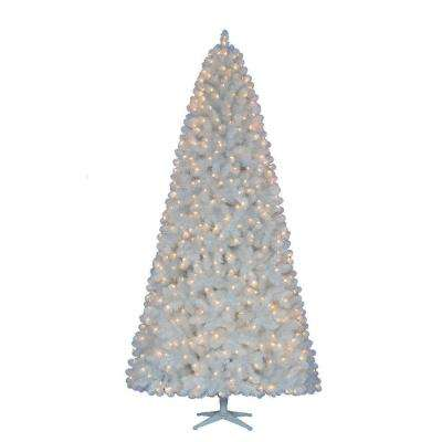 9 ft. Pre-Lit LED Glossy White North Hill Spruce Quick Set Tree x 1973 Tips, 700 Indoor Low Voltage Warm White Lights