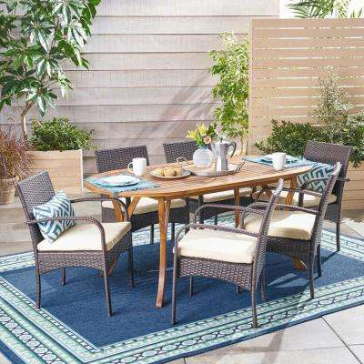 Mason Multi-Brown 7-Piece Wood and Wicker Outdoor Dining Set with Cream Cushions