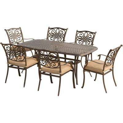 Traditions 7-Piece Aluminum Outdoor Dining Set with Natural Oat Cushions