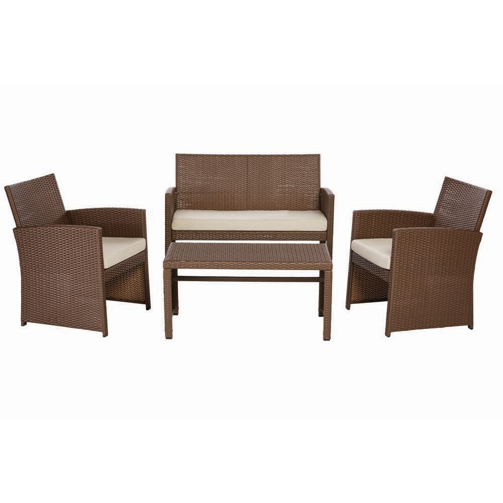 Park Trail Brown 4 Piece Wicker Patio Conversation Set With Light Cushions