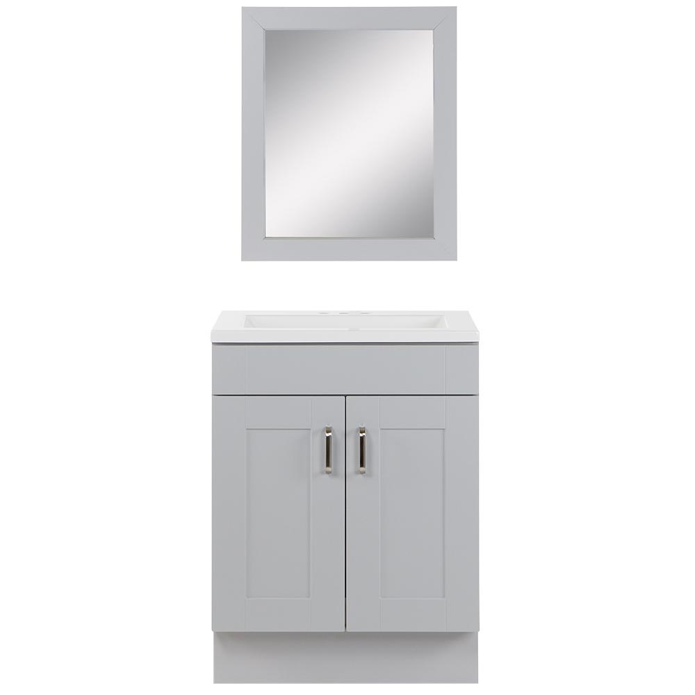 Glacier Bay Arla 24.5 in. W Bath Vanity in Pearl Gray with Cultured Marble Vanity Top in White with White Basin and Mirror