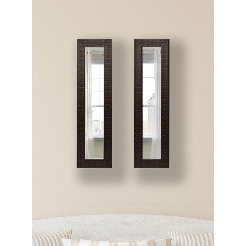 10.5 in. x 28.5 in. Espresso Bricks Vanity Mirror (Set of 2-Panels)