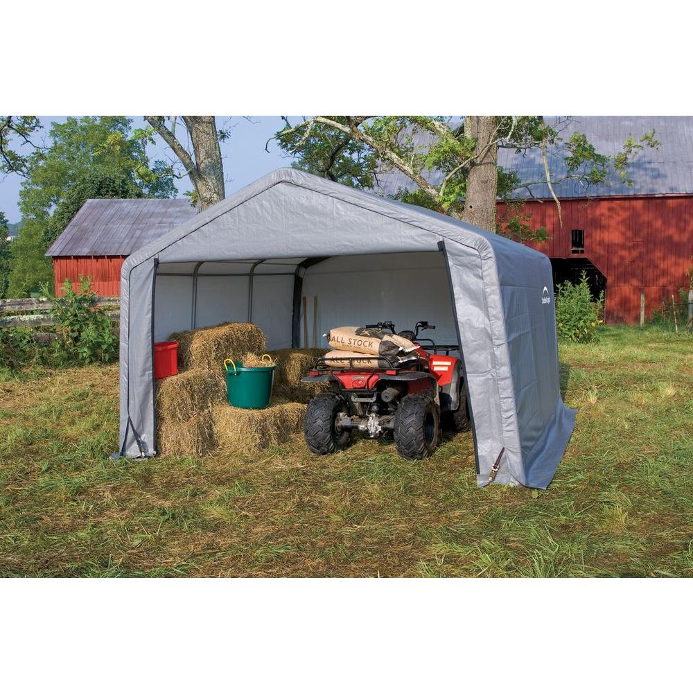 ShelterLogic Shed-In-A-Box 12 ft  x 12 ft  x 8 ft  Grey Peak Style Storage  Shed