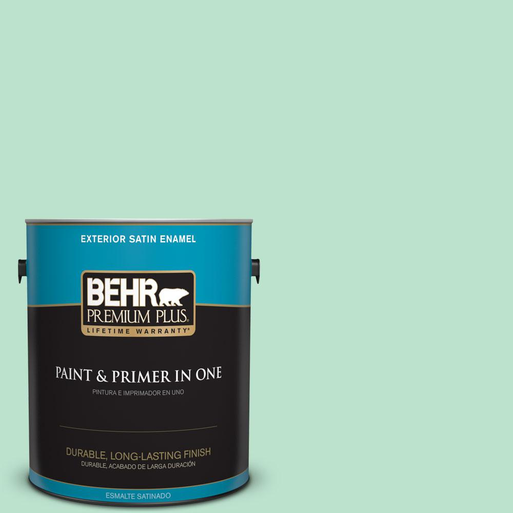 1-gal. #P410-2 Spearmints Satin Enamel Exterior Paint