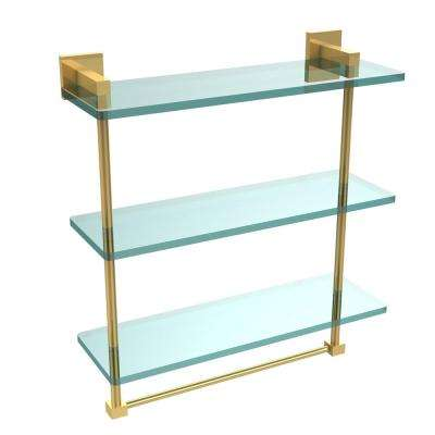 Montero 16 in. L  x 18 in. H  x 6-1/4 in. W 3-Tier Clear Glass Bathroom Shelf with towel bar in Polished Brass