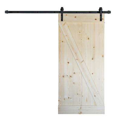 36 in. x 84 in. Z Series DIY Unfinished Knotty Pine Wood Barn Door with 6.6 ft. Sliding Door Track Hardware Kit
