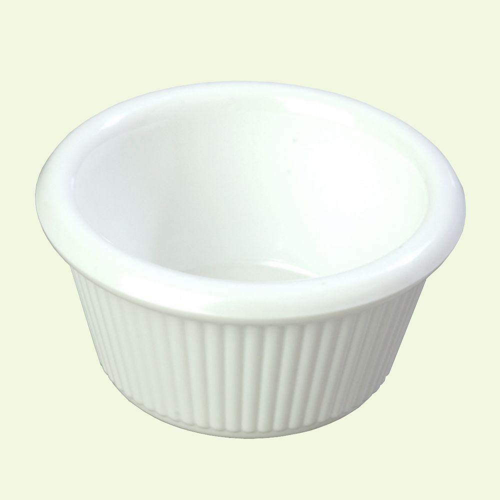 3 oz. Heavy Weight Melamine Fluted Sides Ramekin in White (Case