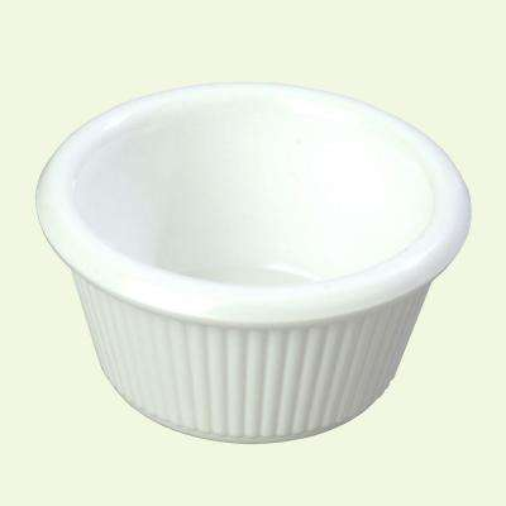 3 oz. Heavy Weight Melamine Fluted Sides Ramekin in White (Case of 48)