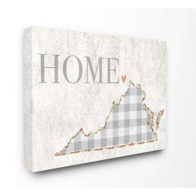 "30 in. x 40 in. ""Virginia Grey Gingham and Floral Heart and Home"" by Daphne Polselli Canvas Wall Art"