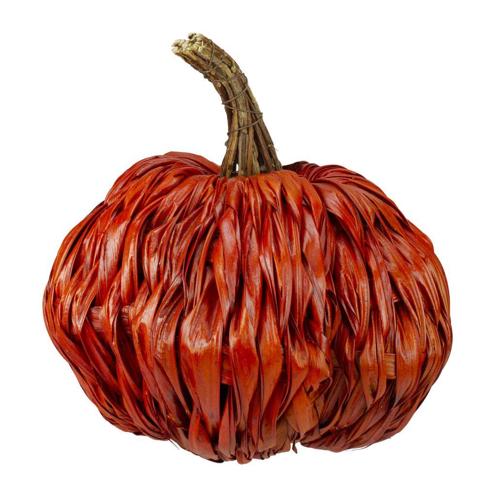 "5 1//2/"" Autumn Harvest Orange Burlap Pumpkin Thanksgiving Table Decor"