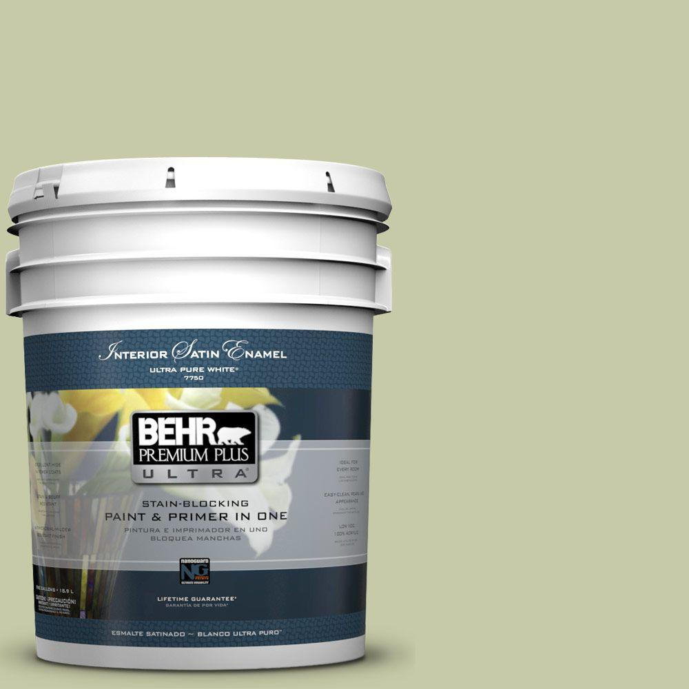 5-gal. #M350-3 Sap Green Satin Enamel Interior Paint
