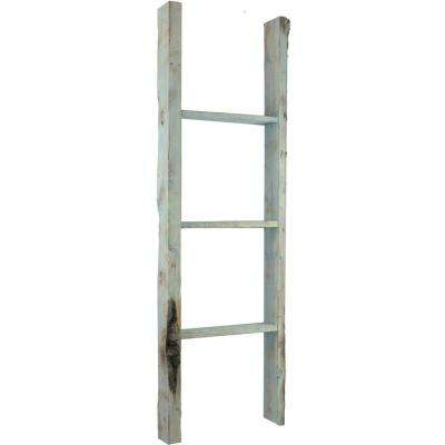 19 in. x 48 in. x 3 1/2 in. Barnwood Decor Collection Restoration Green Vintage Farmhouse 3-Rung Ladder