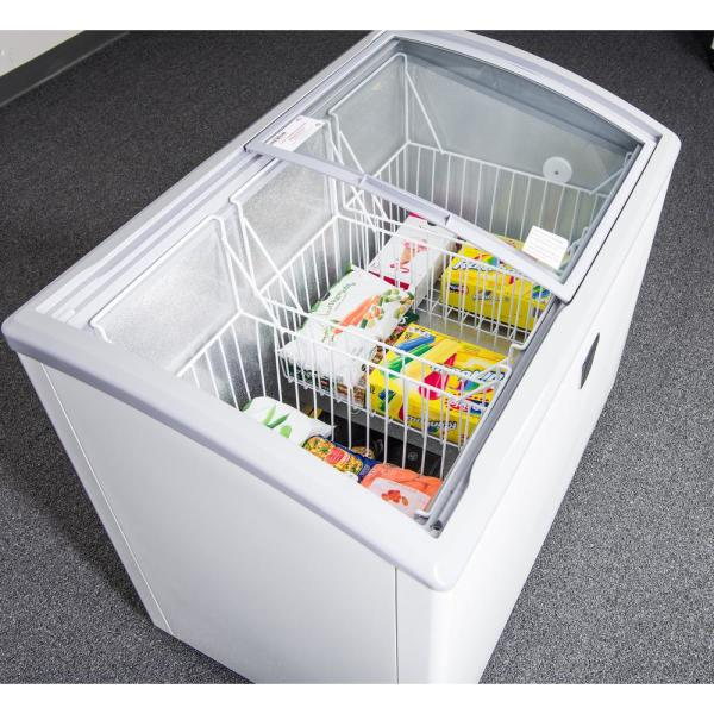 17 Cu.Ft Chest Freezer Glass Door sliding Commercial Ice Cream Freezer 60 White 3 door Curve Display Top w//Storage Baskets