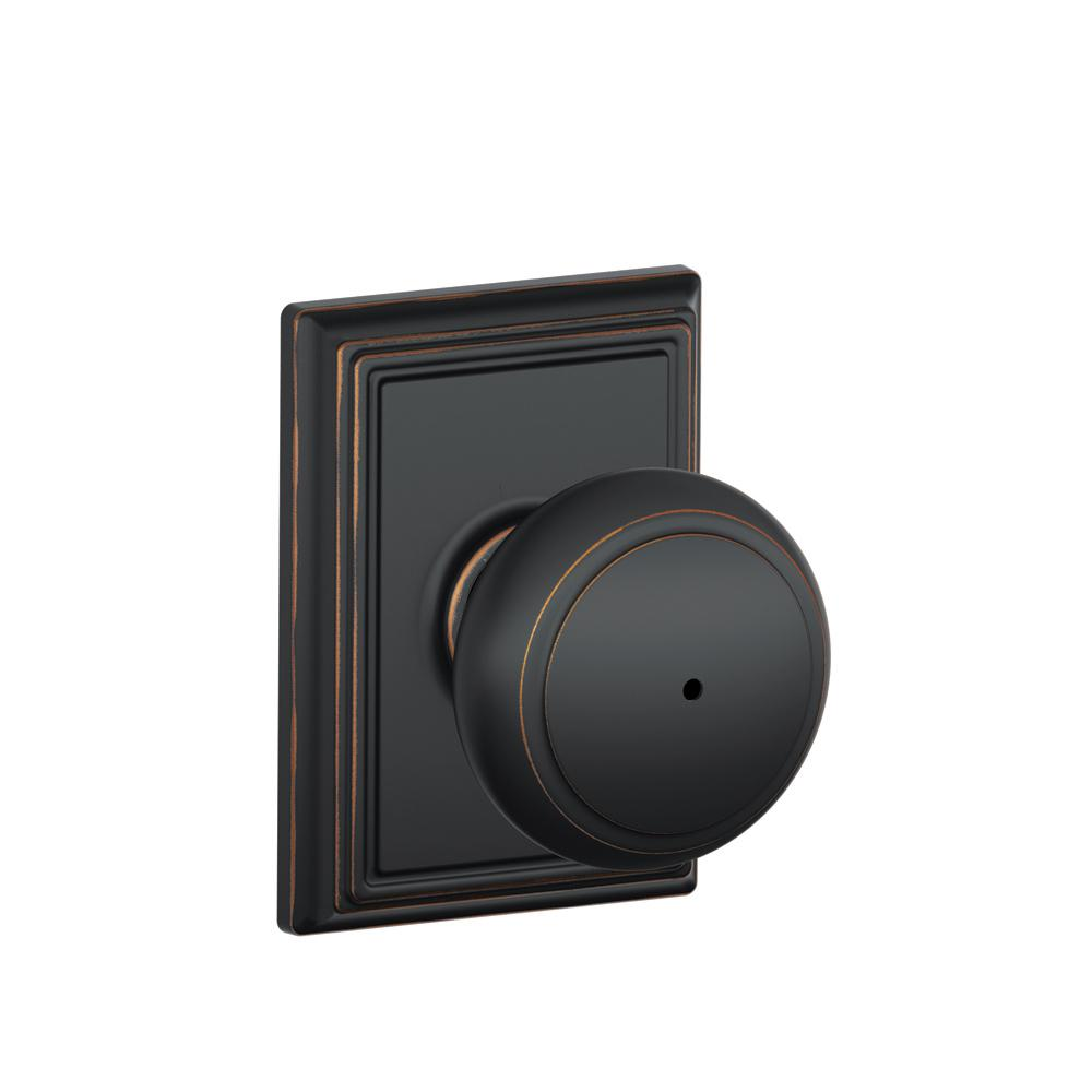 Andover Aged Bronze Bed and Bath Knob with Addison Trim