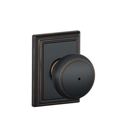 Andover Aged Bronze Privacy Bed/Bath Door Knob with Addison Trim