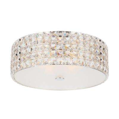 14 in. 5-Light Chrome Flush Mount with Glass Accents